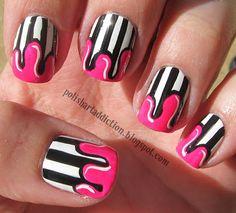 Polish Art Addiction: Stripes & Drips  ( #nailart #manicure #pedicure #mani #pedi #nailpolish)