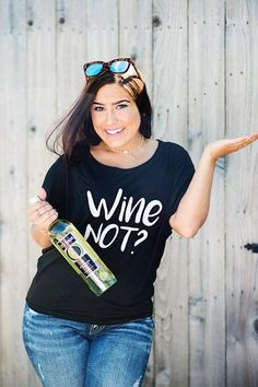 Wine not?  Fun wine graphic tee for wine lovers!  Perfect for a girls night out, girls weekend, bachelorette party or birthday gift! sugarloveboutique