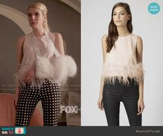 Chanel's checked trousers and feather trim top on Scream Queens Scream Queens Costume, Scream Queens Fashion, Chanel Oberlin, Fashion Tv, Fashion Models, Fashion Outfits, Tv Show Outfits, Cute Outfits, Unif Clothing
