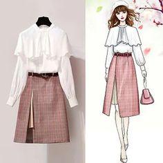 Women& spring blouse + skirt plus size sweet korean dress suit - - Fashion Drawing Dresses, Fashion Illustration Dresses, Fashion Dresses, Ulzzang Fashion, Korean Fashion, Cute Fashion, Vintage Fashion, Dress Sketches, Korean Outfits