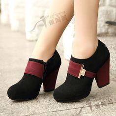 Hoog- hakken platform schoenen lage-top kleurstof overeenkomen met nubuck koeienhuid lederen vrouwen schoenen vrouwen enkel schoenen