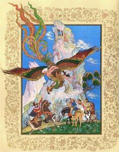 The Simurgh is the magical mythical bird of ancient Persia, who saved the abandoned albino infant Zal and raised him as his own. He later joined his father as champion warriors of Iran. His son was the even more famous warrior Rustam. Mythical Flying Creatures, Mythical Birds, Art Arabe, Middle Eastern Art, Ancient Persia, Islamic Paintings, Iranian Art, National Art, Science Art