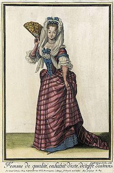 Recueil des modes de la cour de France, 'Femme de Qualité, en Habit d'Esté, Détoffe Siamoise'  Nicolas Arnoult  1687