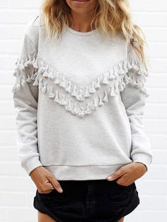 Womem Grey Fringe Decorated Sweatshirt -SheIn(Sheinside) Mobile Site
