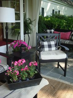 Love this black and white for an outdoor porch