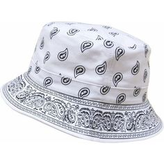 White Bandana Bucket Hat ($25) ❤ liked on Polyvore featuring accessories, hats, buckets, white hat, white fisherman hat, fisherman bucket hat, white handkerchief and fishing hat