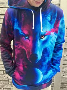 """""""Galaxy Wolf"""" Designed by Jonas! Insta: Jonas Jödicke :) Specifications: - polyester but feels as soft as cotton - Vibrant full color print, front & back - Design will never peel, flake or crack -. Can Dogs Wear Human Shirts Galaxy Hoodie, Electro Threads, Galaxy Wolf, Cool Hoodies, Stylish Hoodies, Girls Hoodies, Types Of Fashion Styles, Swagg, Unisex"""