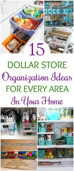 15 Dollar Store Organization Ideas For Every Area In Your Home. OMG! I love these cheap storage hacks to get my whole house organized! The worst rooms of mine are the kitchen and bathroom. Time to take a trip to the dollar tree!