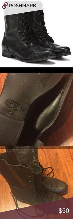 Steve Madden Combat Boots Black Leather Steve Madden Combat Boots. Women's Size 10. Steve Madden Shoes Combat & Moto Boots