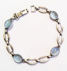 Art Deco Moonstone Bracelet, Sterling Silver, Glass, WRE Designer,  Vintage Jewelry, SUMMER SALE