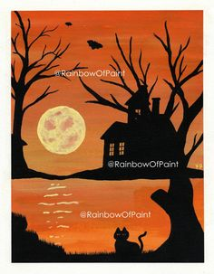 Haunted House Print by RainbowOfPaint on Etsy