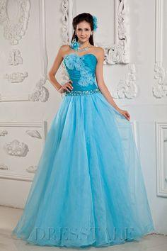 Unique A-line Floor-length Sweetheart Zip-up Organza Ice Blue Quinceanera Dresses