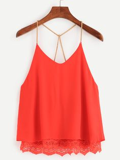 To find out about the Red Lace Trimmed Chain Strap Chiffon Cami Top at SHEIN, part of our latest Tank Tops & Camis ready to shop online today! Summer Fashion Outfits, Spring Outfits, Pretty Outfits, Cool Outfits, Chiffon Cami Tops, Casual Dresses, Casual Outfits, Modelos Fashion, Summer Shirts
