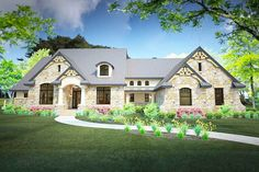Stone Clad House Plan with 2 Bonus Rooms - 16892WG | 1st Floor Master Suite, Bonus Room, Butler Walk-in Pantry, CAD Available, Corner Lot, Den-Office-Library-Study, European, Hill Country, Jack & Jill Bath, Loft, Luxury, Mountain, PDF, Split Bedrooms | Architectural Designs