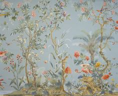 """Decor Chinois"" wallpaper with vivid multi-colored flowers, birds and insects in the Chinoiserie style garden, printed in the flat Chinese style on a Wedgewood blue background by Zuber."