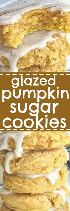 Glazed pumpkin sugar cookies are the best way to enjoy pumpkin spice and Fall flavors! Soft-baked & thick pumpkin sugar cookies are topped with an easy pumpkin spice glaze. Try just eating one of these delicious sugar cookies. The perfect Fall dessert recipe! | togetherasfamily.com #pumpkin #cookies #dessert