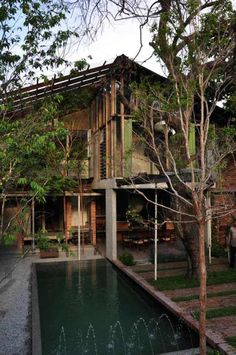 55 trendy design home tropical Modern Tropical, Tropical Houses, Tropical Architecture, Interior Architecture, House In The Woods, My House, Thai House, Bamboo House, Wooden House