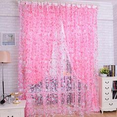Window Curtain Printed Floral Voile Curtains Home Decor Door Window Room Curtain Divider Scarf New Fashion Curtain Divider, Curtain For Door Window, Curtain Room, Window Curtains, Window Screens, Room Window, Outdoor Curtains, Bay Window, Elegant Curtains