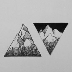 Great matching black mountains tattoo design.