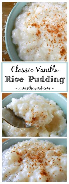 This Classic Vanilla Rice Pudding is simple to make and highlights the flavor of vanilla as the crown jewel. A favorite recipe of mine with a sprinkle of cinnamon! Check out this classic vanilla rice pudding! Stovetop Rice Pudding, Rice Pudding Recipes, Creamy Rice Pudding, Rice Puddings, Low Fat Rice Pudding Recipe, Vanilla Pudding Desserts, Vegan Rice Pudding, Rice Pudding Recipe With Raisins, Danish Rice Pudding Recipe