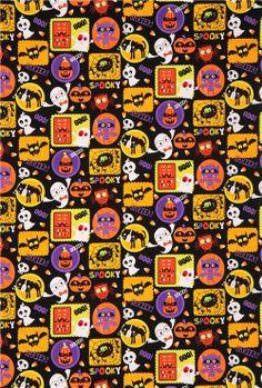 black Halloween fabric Slime Time ghost pumpkin bat 3