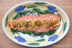 Gourmet Girl Cooks: Wild Alaskan Salmon w/ Lemon, Butter & Dill and Tomato-Basil Burrata Salad