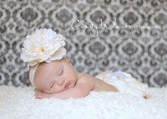 Newborn Headband, Weddings, Baptism,Christening, Flower Girls, Baby Headband Ivory Lace Flower Headband. $12.95, via Etsy.