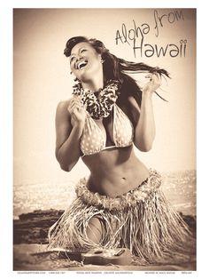 Polka Dot Wahine: Hawaiian Hula Girl Print by Celeste Manderville at Art.com