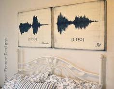"Sound waves of saying ""I do"". His and hers of course. Such a cute idea"