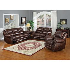 @Overstock.com - This Fulton brown bonded leather double reclining sofa and loveseat set is the ultimate in reclining comfort. The overstuffed cushions with these recliners make this furniture ideal for watching movies or entertaining guests.  http://www.overstock.com/Home-Garden/Fulton-Reclining-Brown-Leather-Sofa-and-Loveseat-Set/6014745/product.html?CID=214117 $1,223.99
