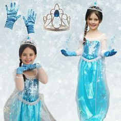 Queen Elsa Dress from Disney's Frozen Kids Costume Dress with Crown and Gloves | eBay