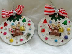 Christmas Tree Ornament Wood Tree Candy Cane Stars Stripes