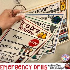 Visuals and supports to make fire drill and other emergency drills less stressful and scary for kids in your preschool, pre-k, and kindergarten classrooms.Would Be good for Home Drills, Too! Kindergarten Classroom Management, Autism Classroom, Classroom Rules, Classroom Ideas, Kindergarten Posters, Classroom Routines, Classroom Design, Future Classroom, Preschool Rooms