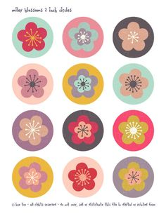 flower collage sheet 2 inch circles cherry blossom par huetoo