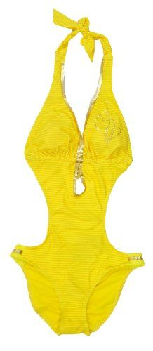 efa7fc6c4d8 Baby Phat Womens Yellow Stripe Printed One Piece « Clothing Adds Anytime