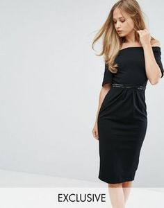 Silver Bloom Bandeau Midi Dress with Fluted Sleeve and Embellished Waist