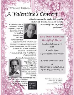 Spend Valentine's Day listening to good music and eating yummy snacks! RSVP and head to the Steinway Piano Gallery Sunday from 4 - 5 PM   #piano #charlotte #local #event