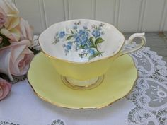 The Pink Rose Cottage - Vintage Royal Albert Forget Me Nots Yellow Teacup and Saucer