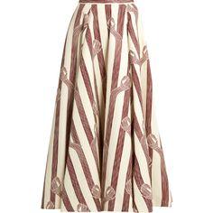 Emilia Wickstead Eleanor linear-print midi skirt ($696) ❤ liked on Polyvore featuring skirts, emilia wickstead, burgundy print, white midi skirt, print midi skirt, burgundy midi skirt, calf length skirts and mid calf skirts