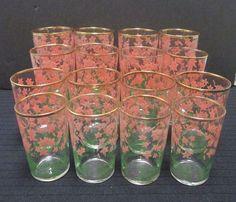 16 Vintage Anchor Hocking Glasses Pink Floral Green Leaves Gold Rimmed Tumblers