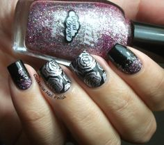 The Clockwise Nail Polish: Sunday Stamping Challenge: In the mood for.... & Passe Nati Chuva de Rosas