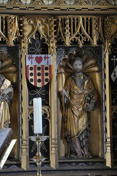 Stanton St Michael chancel gilded reredos with alabaster figures 1915 by Sir Ninian Comper carved by William Gough -127