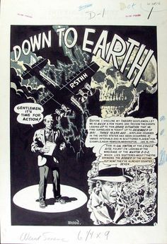 WALLY WOOD - Weird Science #16,  DOWN TO EARTH  8-page story ART 1952 Comic Art
