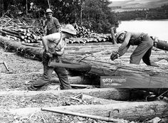 Lumberjacks who joined the Canadian Forestry Corps in World War Two and logged the forests of Scotland brought with them the most up-to-date logging equipment available, including caterpillar tractors, lorries, and winches for high-lead logging. However, axes and crosscut handsaws continued to be their stock tools of the trade. Here two men cut up a fallen tree near Loch Ness in Scotland. Photo Credit: Getty Images. For more: www.elinorflorence.com/blog/canadian-forestry-corps.