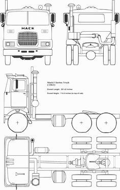 Mack F Series Truck Standard Cab Mack Truck Models, Mack Trucks, Big Trucks, Wooden Toy Trucks, Wooden Toys, Wood Toys Plans, Wood Projects That Sell, Truck Coloring Pages, Plan Toys
