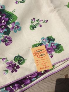 1950s printed Irish linen tablecloth Yellows and Blues