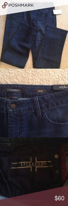 NWT Liverpool jeans, Astrid Waist is 36 inches, the tag says inseam 31 but I measured and the inseam in 30 inches. Rise is 10 inches. Cotton, rayon, polyester and spandex. New Liverpool Jeans Company Jeans Straight Leg