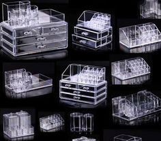 Clear, acrylic cosmetic/make-up display boxes for organization