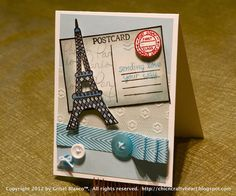 Lawnscaping Challenge #34 - #Embossing - Grisel's #Paris themed postcard card is just fab! (Honorable Gnome)