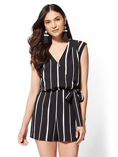 8cce2516af1 Shop Stripe V-Neck Wrap Romper. Find your perfect size online at the best